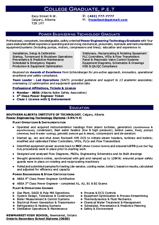 power engineering graduate resume