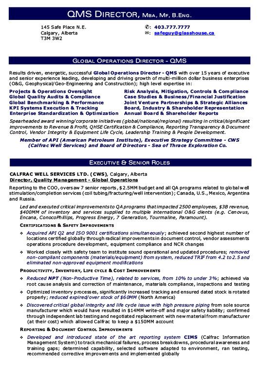 global operations resume